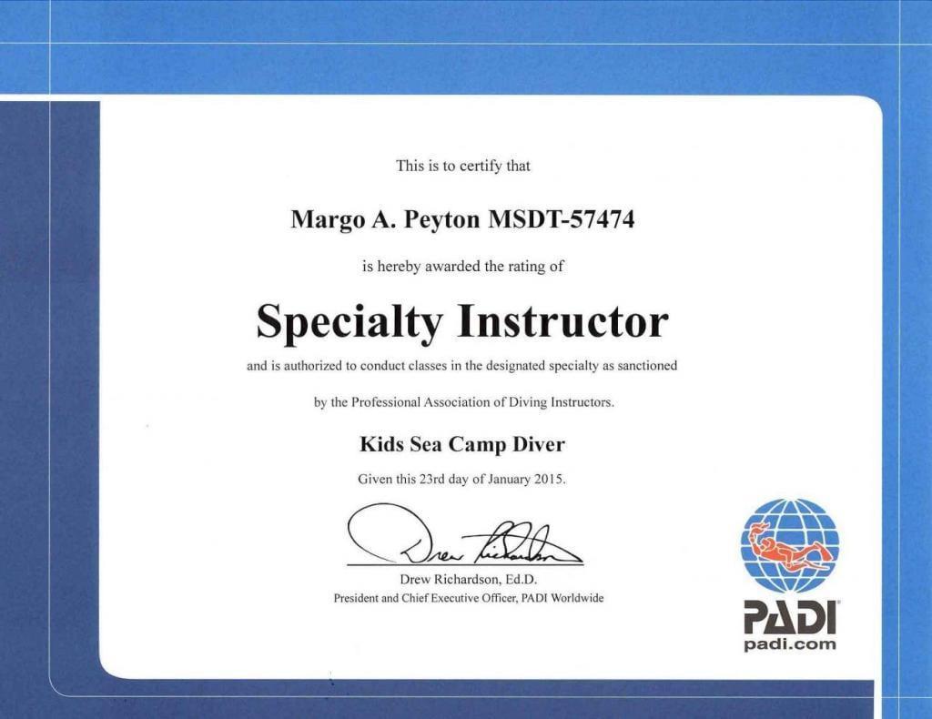 Kids Sea Camp Diver, Dive Training, Margo Peyton