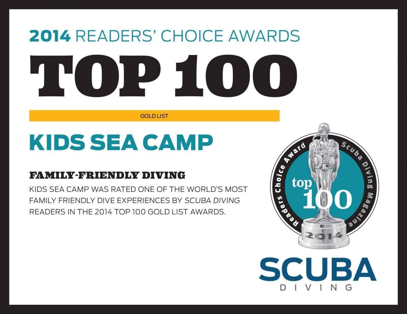 family-friendly dive vacation, reader's choice award, kids sea camp